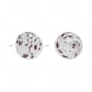 bead, handblown glass, clear and brown, 13mm round. sold per pkg of 2.