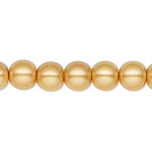 bead, hemalyke™ (man-made), magnetic, gold, 8mm round. sold per 16-inch strand.