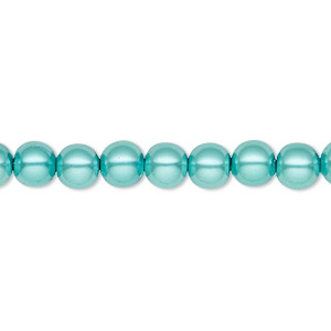 bead, hemalyke™ (man-made), magnetic, light teal blue, 6mm round. sold per 16-inch strand.