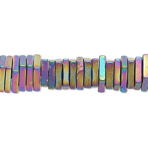 bead, hemalyke™ (man-made), matte rainbow, 4x1mm square rondelle. sold per 8-inch strand, approximately 200 beads.