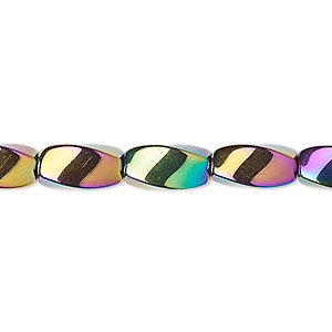 bead, hemalyke™ (man-made), rainbow, 12x6mm twisted oval. sold per 16-inch strand.