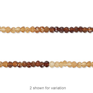bead, hessonite garnet (natural), shaded, 3x2mm-3x3mm hand-cut faceted rondelle, b- grade, mohs hardness 7 to 7-1/2. sold per 13-inch strand.