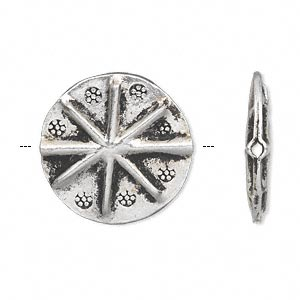 bead, hill tribes, antique silver-plated copper, 22mm flat round with flower pattern. sold individually.