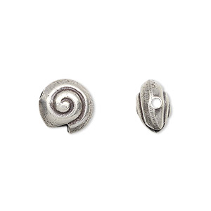 bead, hill tribes, antiqued fine silver, 11mm puffed flat round with swirl. sold per pkg of 2.