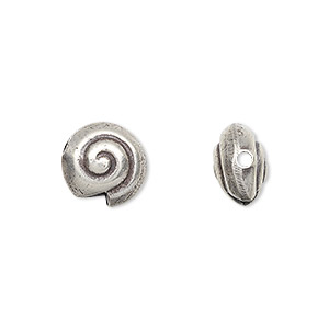 bead, hill tribes, antiqued fine silver, 11x11mm double-sided shell. sold individually.