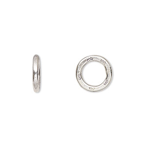 bead, hill tribes, antiqued fine silver, 12mm flat ring with flower print, 7mm hole. sold per pkg of 2.