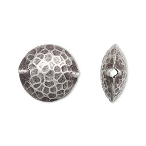 bead, hill tribes, antiqued fine silver, 17mm hammered puffed flat round. sold individually.