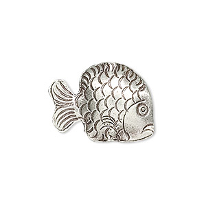 bead, hill tribes, antiqued fine silver, 22x17mm fish. sold individually.