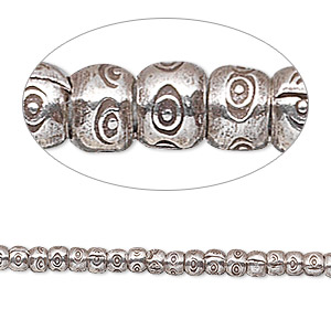 bead, hill tribes, antiqued fine silver, 3x3mm fancy rondelle. sold per 8-inch strand, approximately 70 beads.