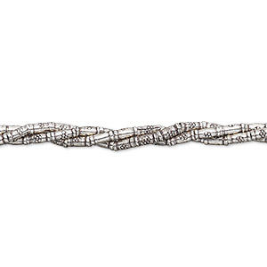 bead, hill tribes, antiqued fine silver, 4x1mm tube with 0.9mm hole. sold per 8-inch strand, approximately 45 beads.