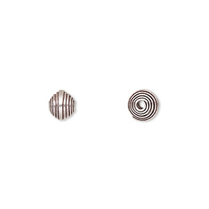 bead, hill tribes, antiqued fine silver, 6x6mm horizontal stripe. sold per pkg of 4.