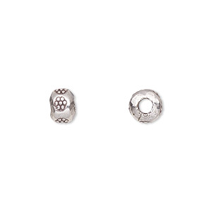 bead, hill tribes, antiqued fine silver, 7x5mm rondelle with flower design, 2.5mm hole. sold per pkg of 2.