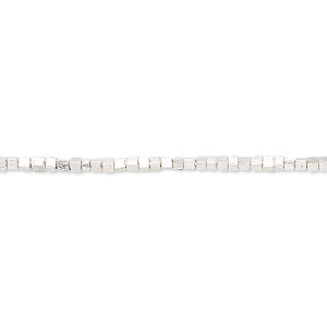 bead, hill tribes, fine silver, 1-2mm cube with 0.9mm hole. sold per 8-inch strand, approximately 110 beads.