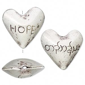 bead, hill tribes, fine silver, 22x20mm heart with hope. sold individually.