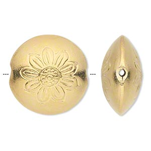 bead, hill tribes, gold-plated copper, 26mm puffed flat round with flower design. sold individually.