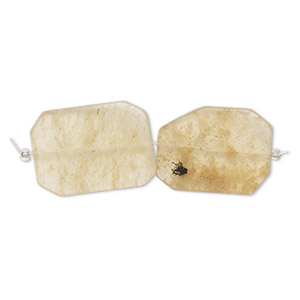 bead, honey quartz glass, 39x28mm-41x31mm twisted freeform. sold per pkg of 2.