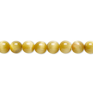 bead, honey tigereye (natural), 6mm round, b grade, mohs hardness 7. sold per 8-inch strand, approximately 30 beads.