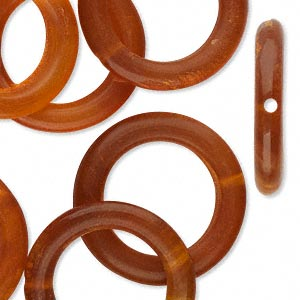 bead, horn (dyed), golden, 25mm hand-cut ring. sold per pkg of 10.