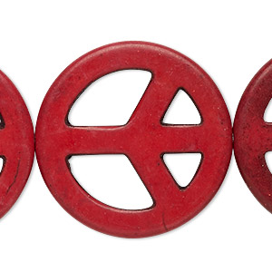 bead, howlite (dyed / imitation), dark red, 34mm peace sign. sold per 15-inch strand.