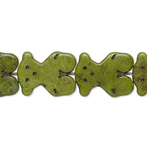 bead, howlite (dyed / imitation), olive green, 18x14mm-19x15mm flat bear. sold per 15-inch strand.