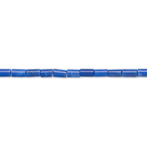 bead, howlite (dyed), lapis blue, 4x2mm tube, b grade, mohs hardness 3 to 3-1/2. sold per 16-inch strand.