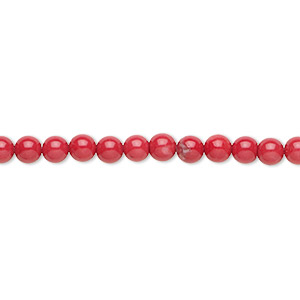 bead, howlite (dyed), red, 4mm round, b grade, mohs hardness 3 to 3-1/2. sold per 16-inch strand.