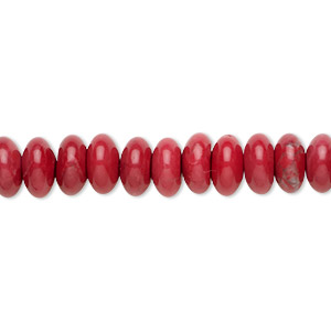 bead, howlite (dyed), red, 8x4mm rondelle, b grade, mohs hardness 3 to 3-1/2. sold per 16-inch strand.