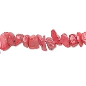 bead, howlite (dyed), red, medium chip, mohs hardness 3 to 3-1/2. sold per 36-inch strand.