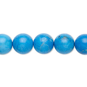 bead, howlite (dyed), turquoise blue, 10mm round with 0.5-1.5mm hole, b grade, mohs hardness 3 to 3-1/2. sold per 16-inch strand.