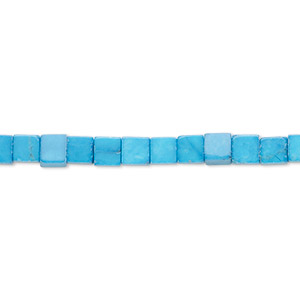 bead, howlite (dyed), turquoise blue, 4mm cube, b grade, mohs hardness 3 to 3-1/2. sold per 16-inch strand.