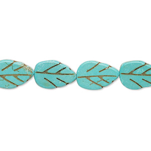 bead, howlite (imitation), aqua blue, 13x9mm-14x10mm carved flat leaf. sold per 15-inch strand.