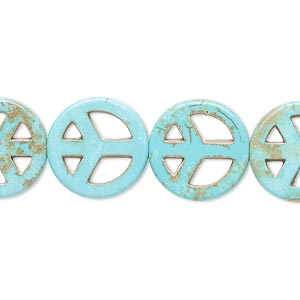 bead, howlite (imitation), aqua blue, 14-15mm peace sign. sold per 15-inch strand.