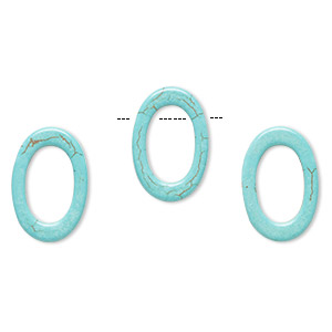 bead, howlite (imitation), aqua blue, 36x24mm top-drilled open oval with 23x14mm center hole. sold per pkg of 3.