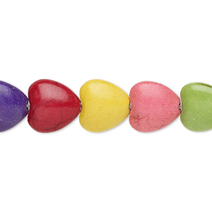 bead, howlite (imitation), multicolored, 12x11mm-12x12mm puffed heart. sold per 15-inch strand.