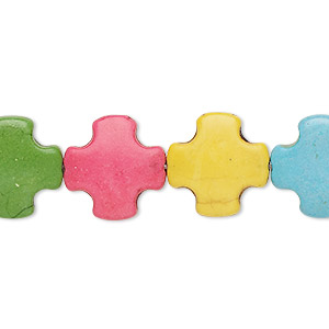 bead, howlite (imitation), multicolored, 15x15mm swiss cross. sold per 15-inch strand.