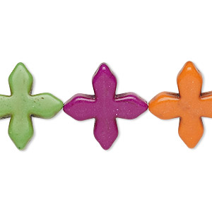 bead, howlite (imitation), multicolored, 19x19mm-20x20mm flat cross. sold per 15-inch strand.