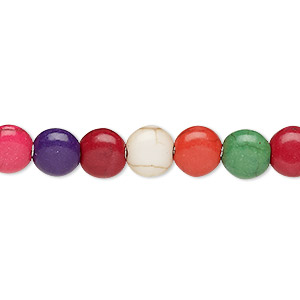 bead, howlite (imitation), multicolored, 7-8mm puffed flat round. sold per 15-inch strand.