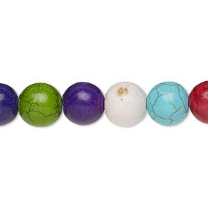 bead, howlite (imitation), multicolored, 9-10mm round. sold per 15-inch strand.