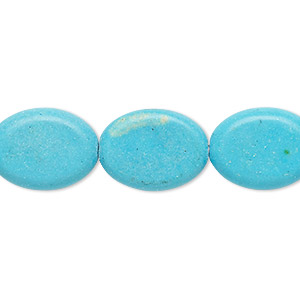 bead, howlite (imitation), turquoise blue, 17x13mm-18x13mm flat oval. sold per 15-inch strand.