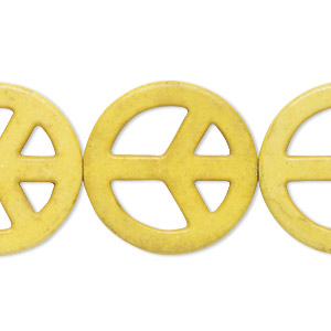 bead, howlite (imitation), yellow, 25mm peace sign. sold per 15-inch strand.