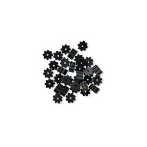 bead huggers™, plastic, black, 3x1.5mm ribbed rondelle with 0.35mm hole. sold per pkg of 100.