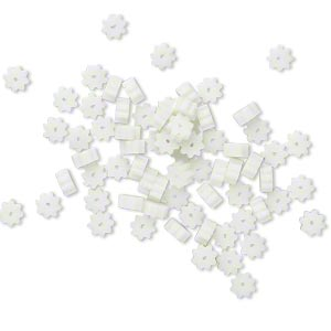 bead huggers™, plastic, white, 3x1.5mm ribbed rondelle with 0.35mm hole. sold per pkg of 100.