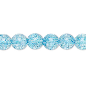 bead, ice flake quartz (dyed / heated), aqua blue, 8mm round. sold per 16-inch strand.