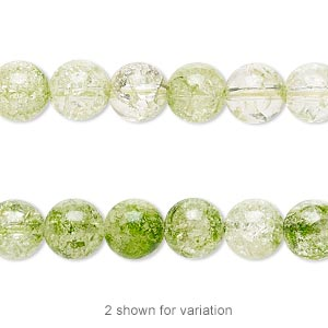 bead, ice flake quartz (heated / dyed), translucent to semi-translucent green, 8mm round with 0.5-1.5mm hole, b grade, mohs hardness 7. sold per 16-inch strand.