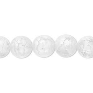 bead, ice flake quartz (heated), 10mm frosted round, b grade, mohs hardness 7. sold per 16-inch strand.