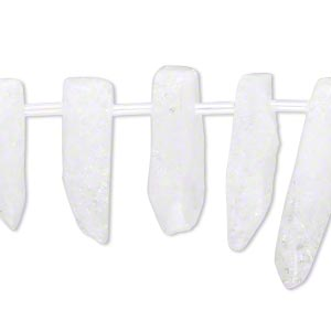 bead, ice flake quartz (heated), 12x5mm-36x15mm graduated stick, c+ grade, mohs hardness 7. sold per 15-inch strand.