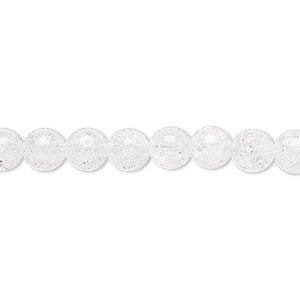 bead, ice flake quartz (heated), 6mm round, b grade, mohs hardness 7. sold per 16-inch strand.