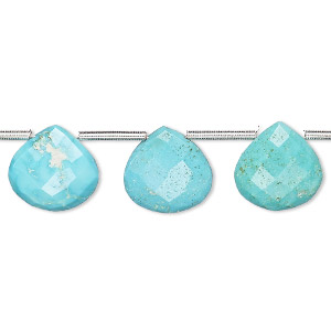 bead, imperial crown turquoise (natural), 11x11mm-12x12mm hand-cut top-drilled faceted puffed teardrop, b grade, mohs hardness 5 to 6. sold per pkg of 14 beads.