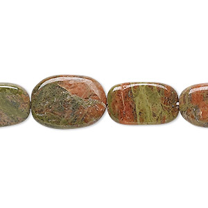bead, indian unakite (natural), 14x10mm-18x13mm hand-cut flat oval, b- grade, mohs hardness 6 to 7. sold per 13-inch strand.