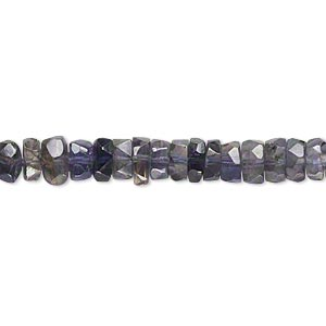 bead, iolite (dyed), 5x2mm-7x4mm hand-cut faceted rondelle, c grade, mohs hardness 7 to 7-1/2. sold per 14-inch strand.